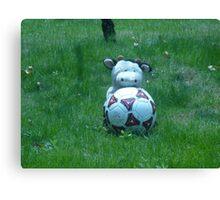 Moo Moo playing soccer Canvas Print
