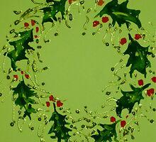 Green Xmas wreath by Elizabeth Moore Golding