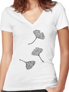 Ginkgo Vector Black on Warm Grey Women's Fitted V-Neck T-Shirt