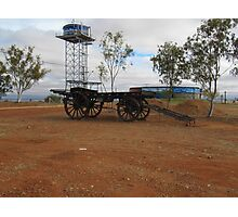 'Boulia's' water supply & old cart. Town exhibit .Outback Queensland. Photographic Print