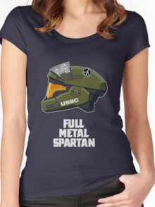 Full Metal Spartan (dark) Women's Fitted Scoop T-Shirt