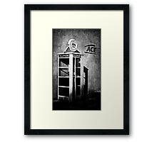 Public Telephone - Mono Framed Print