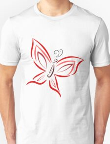 Red and pink butterfly Unisex T-Shirt