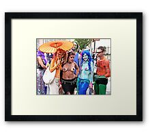 Triple Topless Mermaids Framed Print