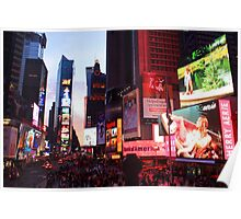 Times Square in New York City at night photography Poster