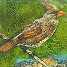 Well Traveled (Female Cardinal Perching) by Marcie Wolf-Hubbard