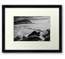 East Beach Black and White Framed Print