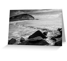 East Beach Black and White Greeting Card