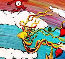 Whimseussical Flying Fish Painting Happy Skies Joyful Clouds by KaylaArielle