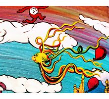 Whimseussical Flying Fish Painting Happy Skies Joyful Clouds Photographic Print