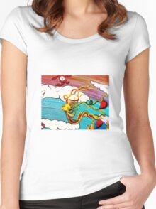 Whimseussical Flying Fish Painting Happy Skies Joyful Clouds Women's Fitted Scoop T-Shirt