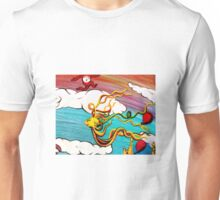 Whimseussical Flying Fish Painting Happy Skies Joyful Clouds Unisex T-Shirt