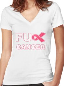 Fu** Cancer - Pink Women's Fitted V-Neck T-Shirt