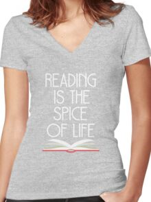 Reading is the Spice of Life Women's Fitted V-Neck T-Shirt