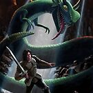 knight in battle with giant serpent by martyee