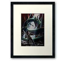 knight in battle with giant serpent Framed Print