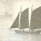 Schooner off Kittery in the fog by Jeremy D'Entremont