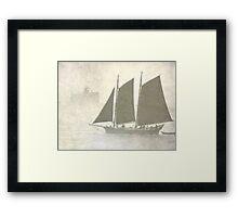 Schooner off Kittery in the fog Framed Print