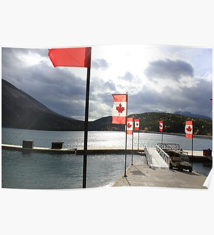 Flags a flutter at a Canadian lake Poster