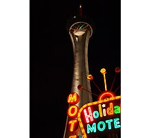 Stratosphere and Holiday Motel Photographic Print