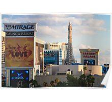 Tight Shot of Las Vegas Strip at Sunset  Poster