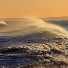Crashing Waves at Sunset by beavo