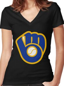 Brewers Women's Fitted V-Neck T-Shirt