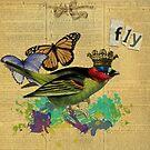 Vintage Bird Illustration Altered Art Collage by Gidget26