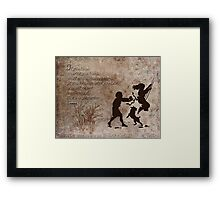 Inspired by a design in package of pudding mix with children on swing silhoutte. Framed Print