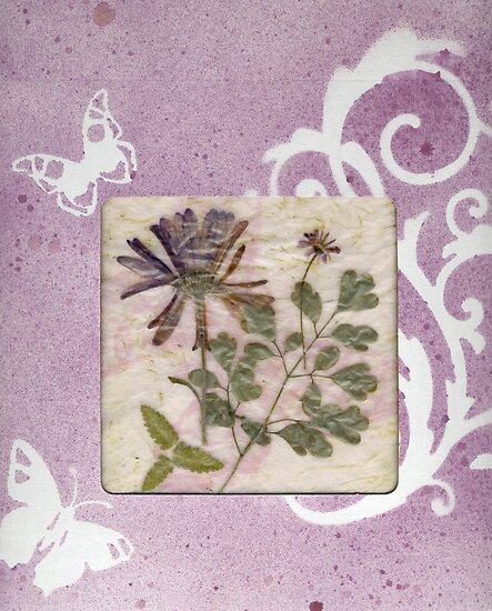 Lavender gift box with botanical window. by Sandra Foster