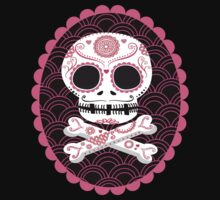 Pink Sugar Skull Vector Kids Tee