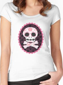 Pink Sugar Skull Vector Women's Fitted Scoop T-Shirt