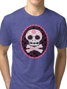 Pink Sugar Skull Vector Tri-blend T-Shirt