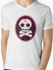 Pink Sugar Skull Vector Mens V-Neck T-Shirt