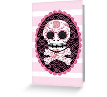 Pink Sugar Skull Vector Greeting Card