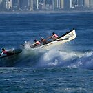 Burleigh Heads - Mowbray Park Surf Boat Crew In Action #1 by Noel Elliot