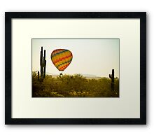 Hot Air Balloon In the Lush Arizona Desert With Saguaro Cactus Framed Print