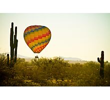 Hot Air Balloon In the Lush Arizona Desert With Saguaro Cactus Photographic Print