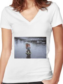 Rainy Day Gnome Women's Fitted V-Neck T-Shirt