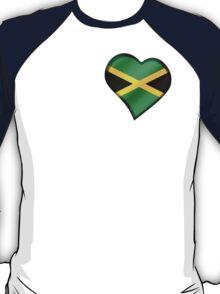 Jamaican Flag - Jamaica - Heart T-Shirt
