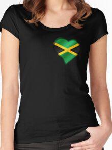 Jamaican Flag - Jamaica - Heart Women's Fitted Scoop T-Shirt