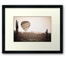 Hot Air Balloon On the Arizona Sonoran Desert In BW  Framed Print