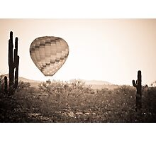 Hot Air Balloon On the Arizona Sonoran Desert In BW  Photographic Print