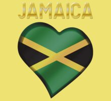 Jamaica - Jamaican Flag Heart & Text - Metallic Kids Tee