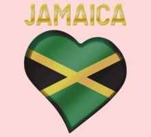 Jamaica - Jamaican Flag Heart & Text - Metallic One Piece - Short Sleeve