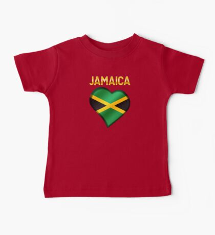 Jamaica - Jamaican Flag Heart & Text - Metallic Baby Tee