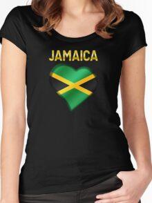 Jamaica - Jamaican Flag Heart & Text - Metallic Women's Fitted Scoop T-Shirt