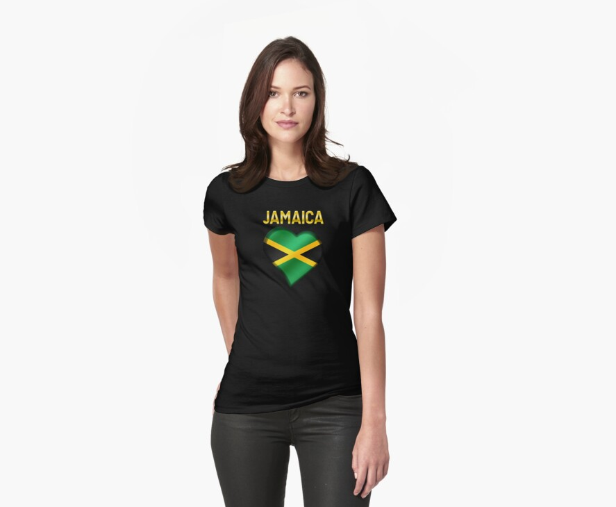 Jamaica - Jamaican Flag Heart & Text - Metallic by graphix