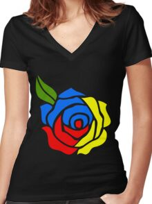 Tri-Color Rose Women's Fitted V-Neck T-Shirt