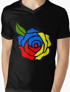 Tri-Color Rose Mens V-Neck T-Shirt